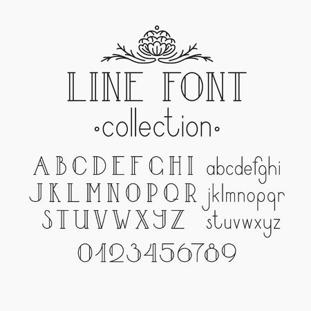 Illustration pour Vector mono line decorative font. Latin alphabet of vintage outline letters. Capitals, smalls and numerals. - image libre de droit