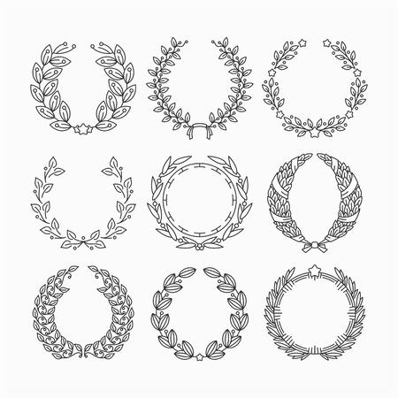 Illustration for Set of line laurel victor's wreaths. Floral monoline garlands, victory frames. - Royalty Free Image