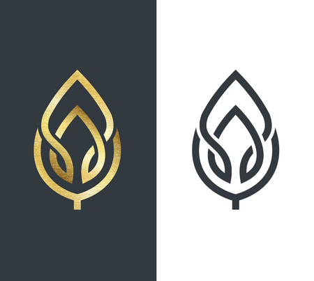 Illustration pour Vector leaf, golden shape and monochromatic one. Abstract emblem, design concept, logo, logotype element for template. - image libre de droit