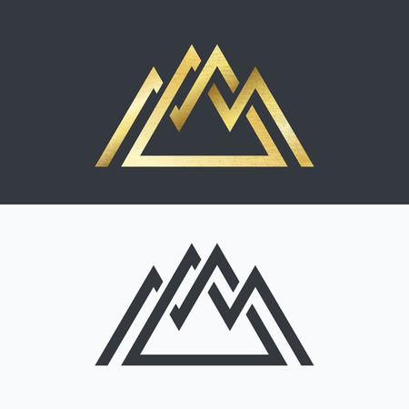 Illustration pour Overlapped line mountains' symbol. Golden and monochromatic signs, logotypes. - image libre de droit