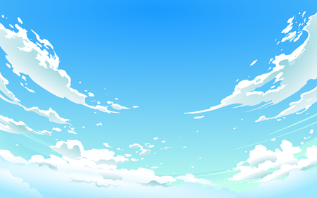 Illustration pour Vector illustration of cloudy sky in Anime style. - image libre de droit