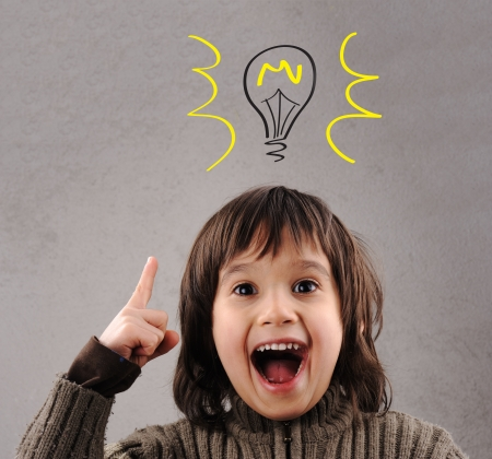 Photo for Exellent idea, kid with illustrated bulb above his head - Royalty Free Image
