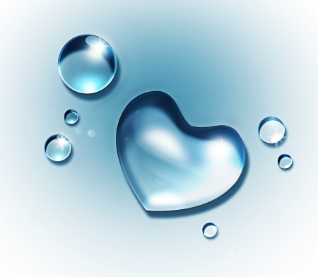 Photo for water drop forming a heart shape on a light background - Royalty Free Image