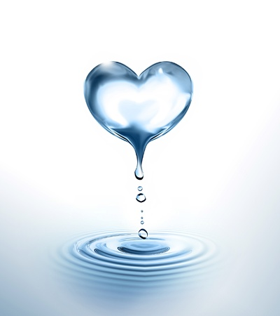 Photo for dripping Heart over the water - Royalty Free Image