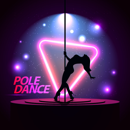 Pole Dance. Party Poster Template. Night Dance Party flyer.