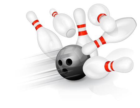 Black bowling ball crashing into the pins