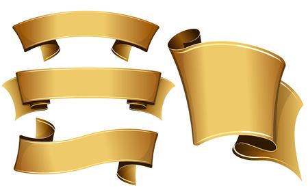 Illustration pour Collection of 4 gold ribbon. Vector illustration - image libre de droit