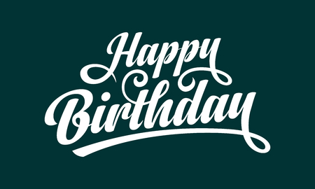 Illustration pour Happy Birthday text vector illustration with white calligraphy ink on green background - image libre de droit