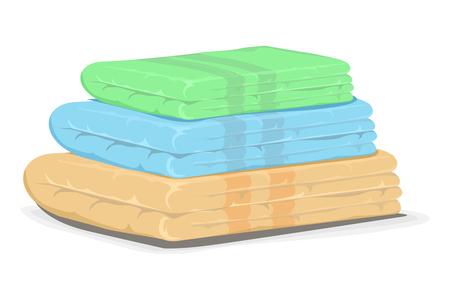 Illustration pour Pile of towels in three different colors - image libre de droit