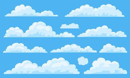Illustration pour Big set of vector cartoon clouds. 11 different cloud. - image libre de droit