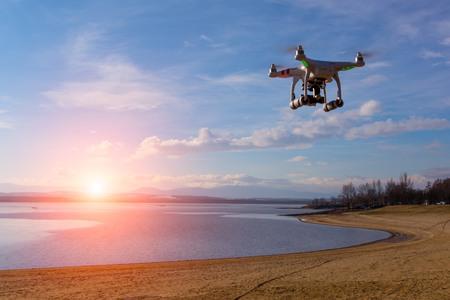 Foto de Modern drone watching the beautiful sunset - Imagen libre de derechos