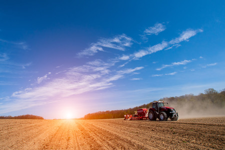 Photo for Sowing and plowing action in the spring season - Royalty Free Image