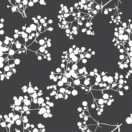 Foto für Seamless background with branches of beautiful hand-drawn silhouette gypsophila in black and white colors.  - Lizenzfreies Bild