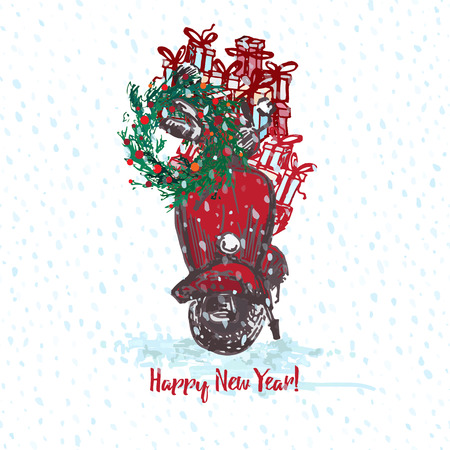 Festive Christmas card. Red scooter with fir tree decorated red balls and gifts on roof. White snowy seamless background and text Merry Christmas. Vector illustrations