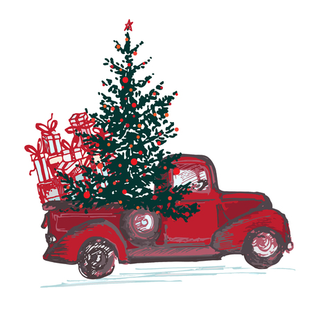 Illustrazione per Festive New Year 2018 card. Red truck with fir tree decorated red balls isolated on white background. Vector illustrations - Immagini Royalty Free