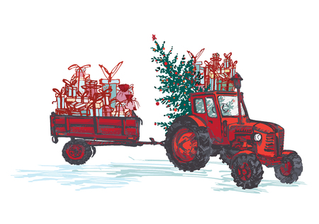 Illustration pour Festive New Year 2019 card. Red tractor with fir tree decorated red balls and holiday gifts isolated on white background. Vector illustrations - image libre de droit