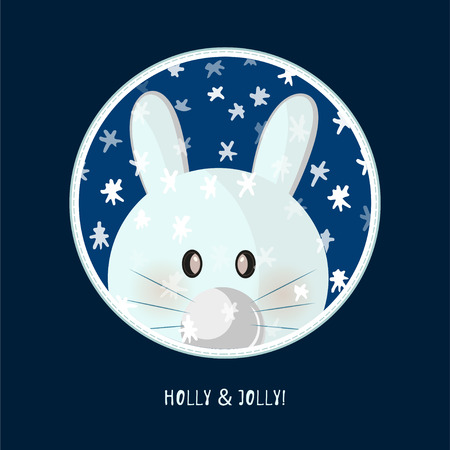 Illustration pour Cute birthday baby sticker with animals rabbit Design for greeting card, cartoon invitation, banner, frame milestone print Isolated on dark blue - image libre de droit