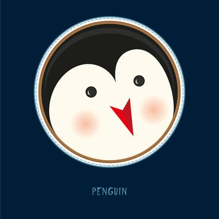 Illustration pour Cute birthday baby sticker with animals penguin Design for greeting card, cartoon invitation, banner, frame milestone print Isolated on dark blue - image libre de droit