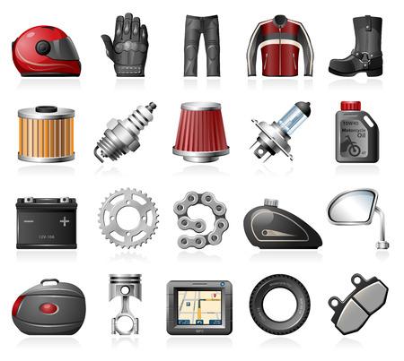 Illustration pour Motorcycle parts and accessories icons - image libre de droit