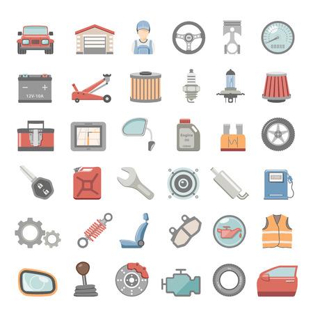 Ilustración de Flat Icons - Car Maintenance - Imagen libre de derechos