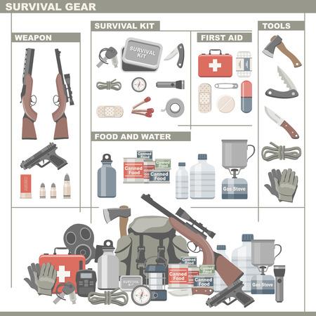 Illustration pour Survival Gear - image libre de droit