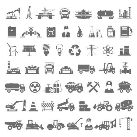 Illustration pour Black Icons - Industry, Energy, Construction - image libre de droit
