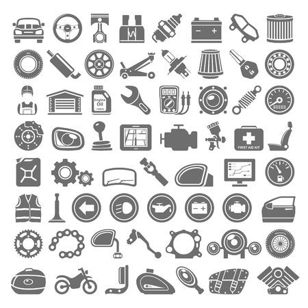 Illustration pour Black Icons - Car and Motorcycle Parts - image libre de droit