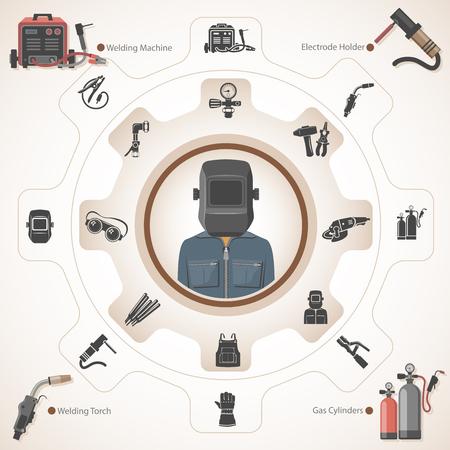 Ilustración de Welder with welding equipment - Imagen libre de derechos