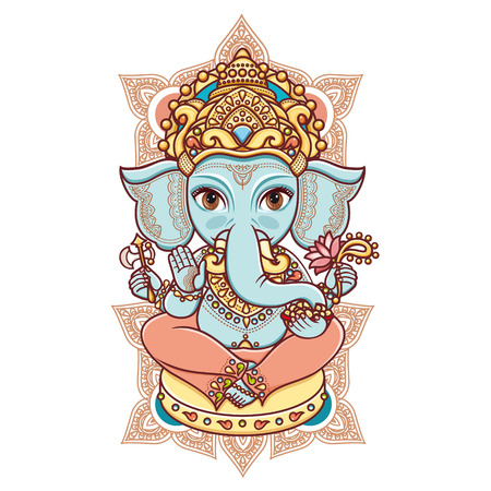 Illustration pour Hindu elephant head God Lord Ganesh. Hinduism. Happy Ganesh Chaturthi. Vector elements isolated. Hand drawn paisley background. Indian, Hindu motifs. Henna tattoo, yoga, textiles, sticker. Cheerful colorful style. - image libre de droit