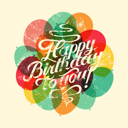 Illustration pour Happy Birthday to you! Typographical retro grunge Birthday Card. Vector illustration. - image libre de droit