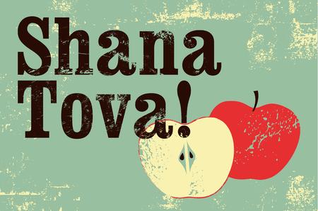 Ilustración de Shana tova! Typographic vintage grunge style. Rosh Hashanah greeting card. Retro vector illustration. - Imagen libre de derechos