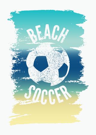 Ilustración de Beach Soccer Typographical Vintage Grunge Style Poster. Retro vector illustration. - Imagen libre de derechos