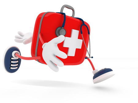 Foto de Stethoscope and First Aid Kit isolated - 3D Render - Imagen libre de derechos