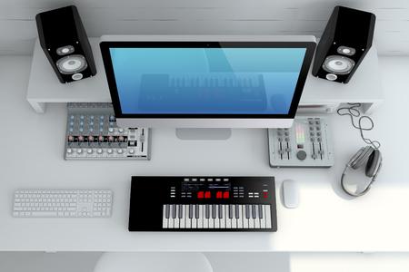 Photo pour Home Recording Studio — Top view- Interior 3D Rendering - image libre de droit