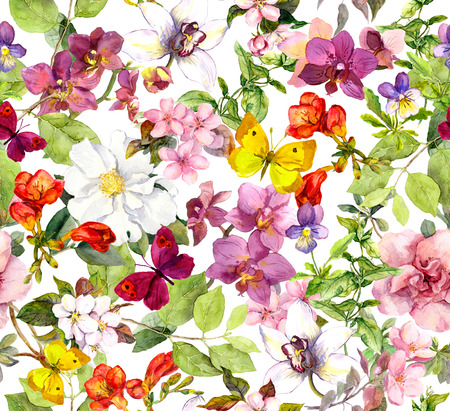 Photo for Vintage flowers and butterflies. Retro floral pattern. Watercolor - Royalty Free Image