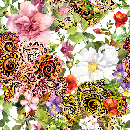 Foto de Seamless vintage floral background with flowers and decorative eastern ornament. Watercolor - Imagen libre de derechos