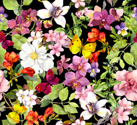Photo pour Summer flowers and butterflies on black background. Chic floral pattern. Watercolor - image libre de droit