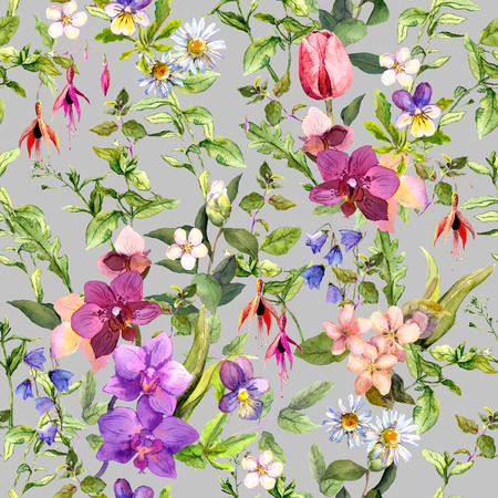 Photo for Ditsy flowers and wild herbs - summer garden. Vintage seamless floral and herbal pattern. Watercolor - Royalty Free Image