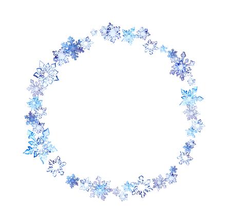 Foto de Winter wreath with snow flakes. Watercolor circle frame for fashion design - Imagen libre de derechos
