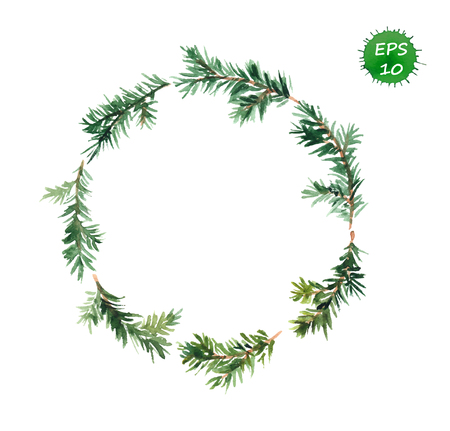 Illustration pour New year wreath - fir tree wreath. Watercolor vector art - image libre de droit