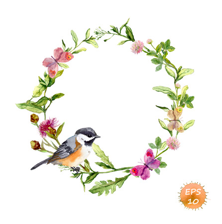 Illustration pour Wreath border frame with wild herbs, meadow flowers, butterflies and bird. Watercolor vector - image libre de droit