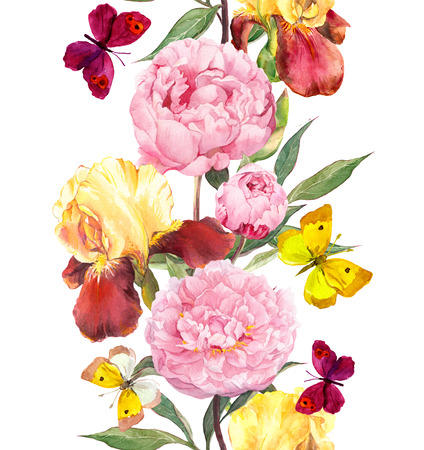 Photo pour Peony and iris flowers. Seamless border stripe. Watercolor isolated - image libre de droit
