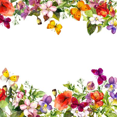 Photo pour Spring, summer garden: flowers, grass, herbs and butterflies Floral pattern - vintage watercolor - image libre de droit