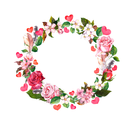 Photo pour Floral wreath - roses flowers, feathers, hearts. Watercolor round border for Valentine day, wedding - image libre de droit