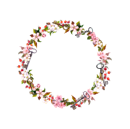 Photo pour Floral wreath with spring flowers, keys. Vintage watercolor round frame - image libre de droit