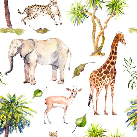 Foto de Palm trees and savannah animals - giraffe, elephant, cheetah, antelope. Zoo seamless pattern. Watercolor - Imagen libre de derechos