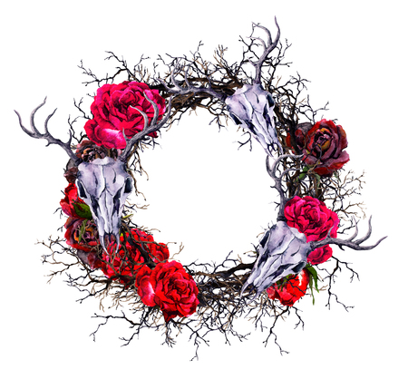 Photo for Wreath with deers skull, red roses, branches. Watercolor border for Halloween - Royalty Free Image