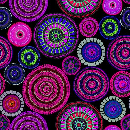 Photo pour Australian design with dots - circles, waves. Seamless pattern - image libre de droit
