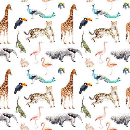 Photo pour Wild animals and birds - zoo, wildlife - giraffe, cheetah, toucan, flamingo, other. Seamless pattern. Watercolor - image libre de droit