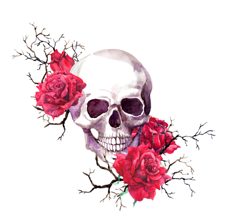 Photo pour Human skull in branches, red rose flowers. Watercolor for Halloween - image libre de droit